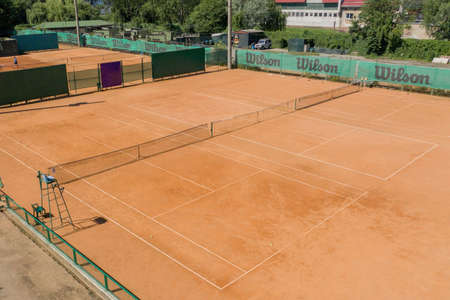 Ukraine, Kyiv- April 4, 2020: Tennis Clay Court. View from the bird.