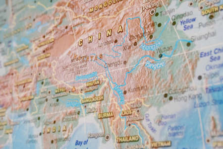 china close up on map, asia country. Stockfoto