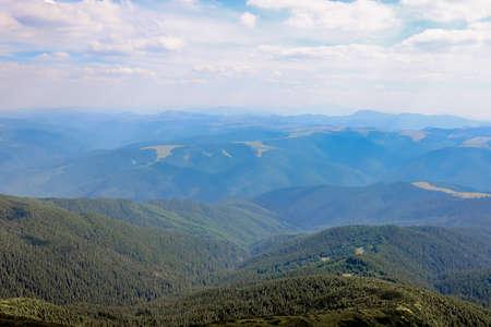 Carpathians mountain range at summer morning. Beauty of wild virgin Ukrainian nature. Peacefulness