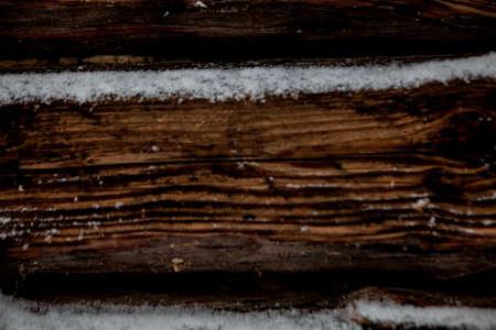 closeup background of old wood planks under snow. 免版税图像