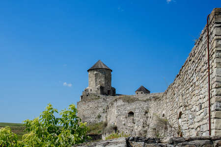 August 12, 2020 Kamenets Podolsk: Scenic summer view of ancient fortress castle in Kamianets-Podilskyi, Khmelnytskyi Region, Ukraine. Kamyanets-Podilsky a romantic city on the background of a beautiful sky with clouds. 新闻类图片