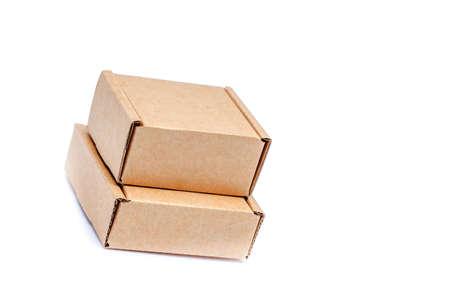 Cardboard boxes of various sizes isolated on white background