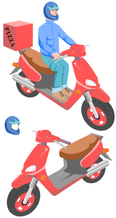 Pizza scooter. The image is composed of three distinct layers: a helmet, a man and a scooter. Removable helmet.
