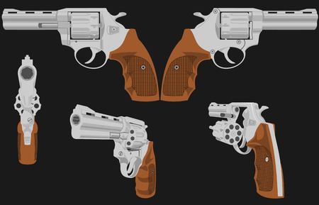 gat: The image of a revolver in five positions. The first figure is possible to animate. Illustration is composed of six layers - five revolvers and background.