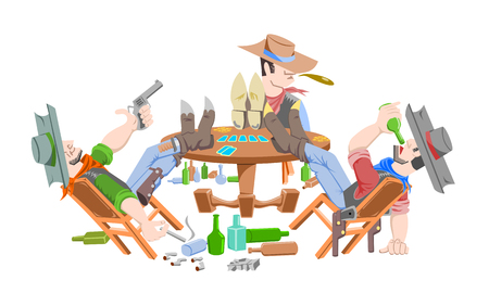 Three cowboy in saloon. Cowboys do not have faces Illustration