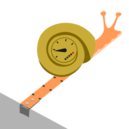 Snail with the speedometer and the yardstick. Funny picture of a snail
