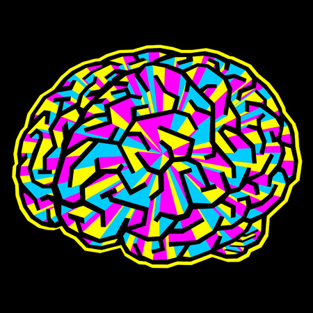 The brain is like a maze and painted to CMYK. It consists of four layers: gyrus, face, aura, background.