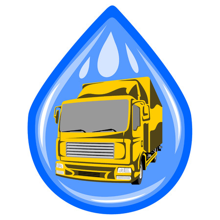 Truck wash. The two layers: a drop and the truck. Illustration
