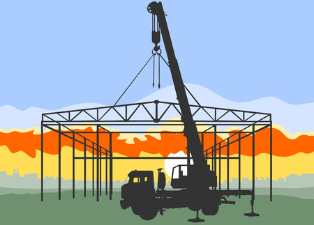 Installation of the steel structure using a crane. Image has three layers: crane, building and landscape. The building is collapsible. Crane be dismantled into 3 parts.