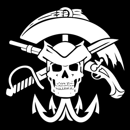 Pirate flag. The file has two layers: a black background and a pirate symbols. Illustration
