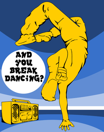 Breakdancer and record player. The file has four layers: background, text, record player, a dancer. Illustration