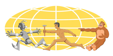 programming code: Evolution with a hammer. Funny pictures on the theme of human evolution Illustration