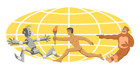 relay: Evolution with a torch. Funny pictures on the theme of human evolution Illustration