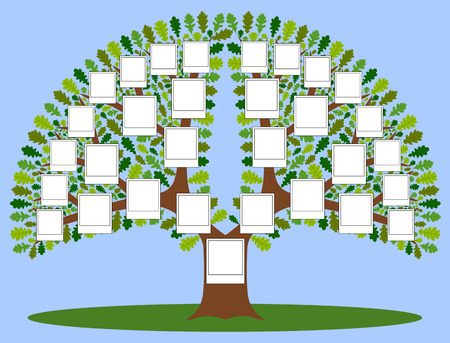 lineage: Family free with photo frames. The file has four layers: background, stem, leaves and frame. Four kinds of leaves.