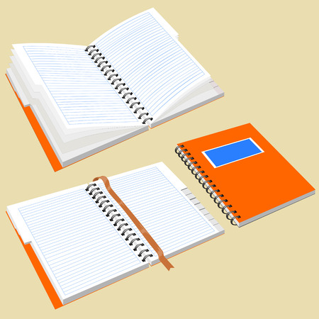 detachable: Open notepad with metal spiral. Isolated notebook with metal spiral. Notepad with the alphabet and bookmark. Image in perspective. Illustration