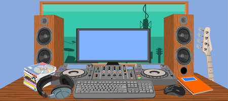 Music studio. A modern recording studio with electronic equipment and instruments. Soundproofed room.