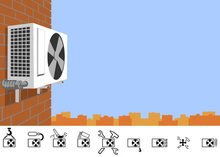 and has: Repair of air conditioners. Outdoor unit of the air-conditioning on a brick wall of a multi-storey building. The picture has the proportions of a business card. Illustration