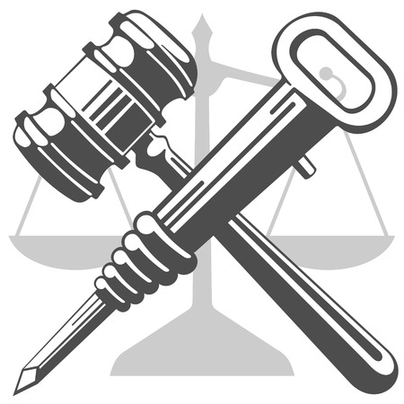 proceeding: Gavel and jackhammer. Against the background of the scales there is a crossed hammer of a judge and a jackhammer. Vector is not a trace.