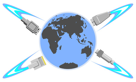 The Eastern Hemisphere is connected to the Internet. Around the Earth, the connectors rotate as electrons around the atom. Earth is surrounded by plugs like like Saturn rings. Illustration