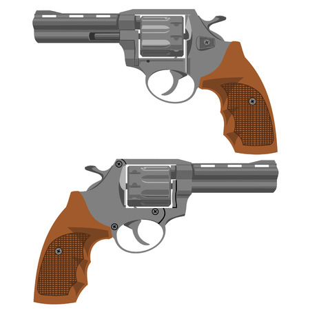 two: Two sides of the revolver.