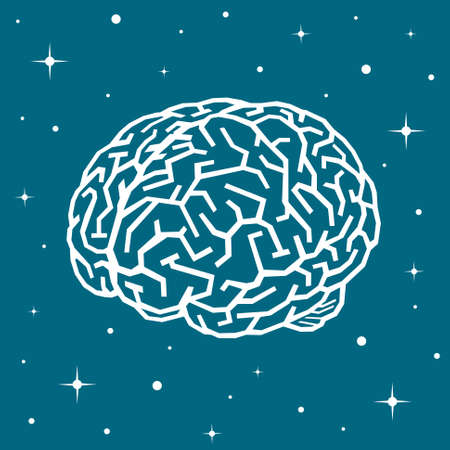 The brain in space among the stars. The brain drawn as a labyrinth hovers in space. It is surrounded by stars and silence.