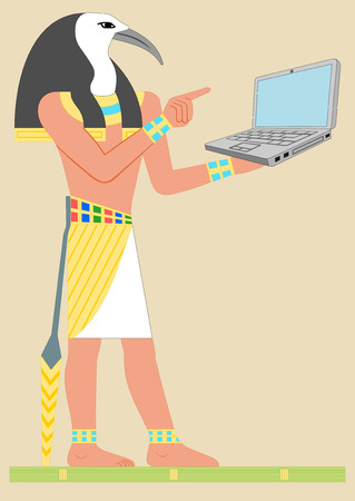 Ancient Egypt God Thoth with notebook computer. Flat style Vector illustration. Illustration
