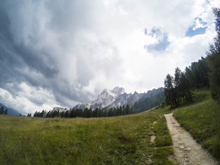 Green summer grass with trail and beautiful view on landscape of Dolomites moutains and a gree forest on a background. South Tyrol, Italy, Alp. Captured on action camera.