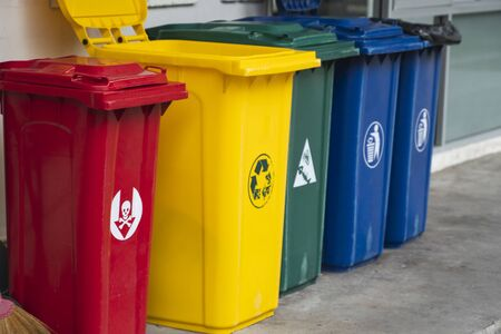 Mülleimer zum Sammeln von Recyclingmaterialien. Mülleimer zur Mülltrennung. Getrennte Abfallsammlung Lebensmittelabfälle, Plastik, Papier und gefährliche Abfälle Recycling. Umfeld