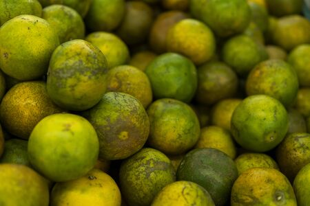 Green fresh whole ripe green tangerine as a texture. Food concept. Tropical and exotic fruits. Healthy and vitamin food concept.