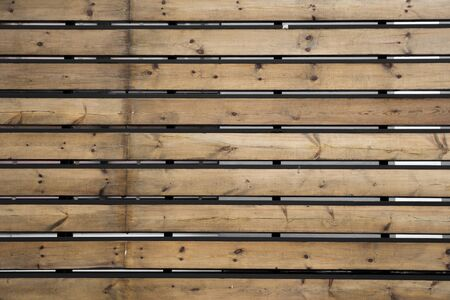 Horizontal rustic weathered old painted wood background with knots and nail holes. Woods texture. Banco de Imagens