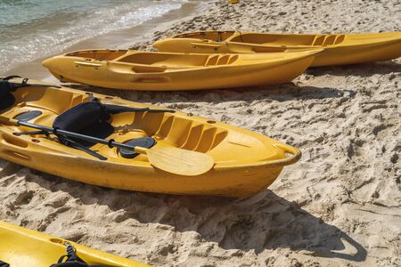 A row of colorful yellow kayaks on a sandy beach ready for paddlers in sunny day. Several yellow recreational boats on the sand. Active tourism and water recreation.