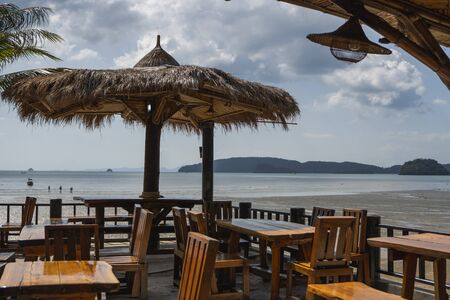 Beautiful cafeteria at the beach in tropical country. 版權商用圖片