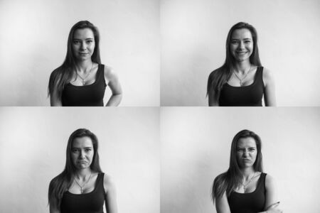 Set of black and white photo of young womans portraits with different emotions. Young beautiful cute girl showing different emotions. Laughing, smiling, anger, suspicion, fear, surprise.