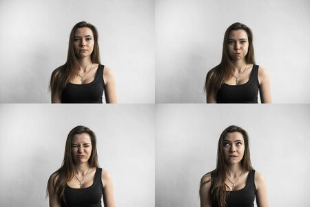 Set of young womans portraits with different emotions. Young beautiful cute girl showing different emotions. Laughing, smiling, anger, suspicion, fear, surprise.