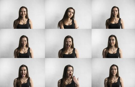 Set of young womans portraits with different emotions. Young beautiful cute girl showing different emotions. Laughing, smiling, anger, suspicion, fear, surprise. Standard-Bild