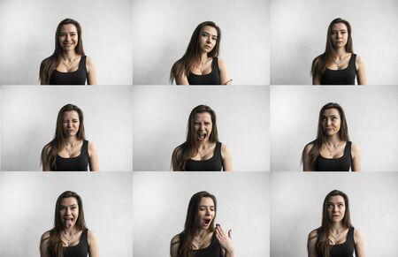 Satz von Porträts der jungen Frau mit unterschiedlichen Gefühlen. Junges schönes nettes Mädchen, das verschiedene Gefühle zeigt. Lachen, Lächeln, Wut, Misstrauen, Angst, Überraschung. Standard-Bild