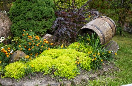 Decoration on a green lawn. Beautiful Garden.