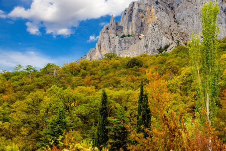 cragsman: The rocky mountain is in the Crimean autumn.