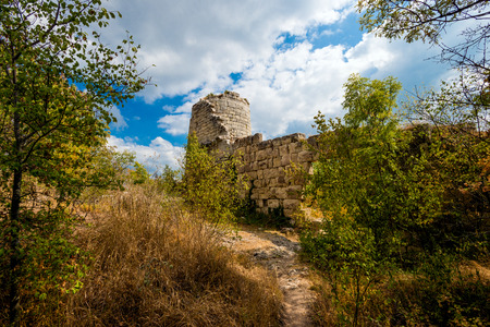 lake dweller: The tower and the fortress situate on mountain of Crimea.