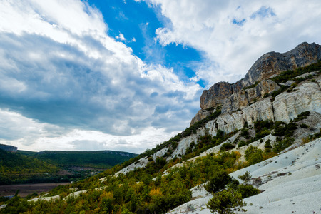 lake dweller: The rocks are in the valley of the Crimea. Stock Photo