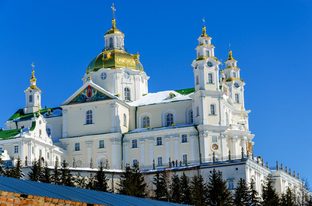 lavra: Dormition Cathedral of Pochaev lavra is in winter. Editorial