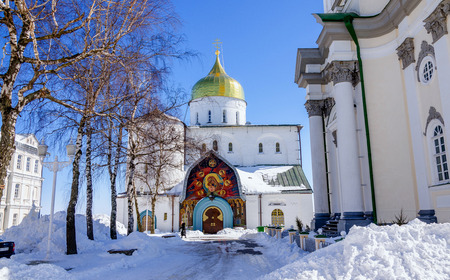 lavra: Trinity Cathedral of the Pochaev lavra is in the winter.