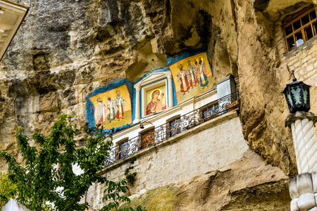 adherent: The icons is  in the  Assumption Monastery of the Caves, Crimea. Stock Photo