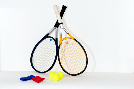 judge players: Tennis racket, ball, there are tennis rackets, balls, bandages. Stock Photo