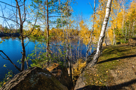 open pit: Granite open pit.  Abandoned Granite Stone Pit is in the autumn.