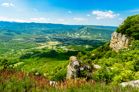 View of river valley in mountain. The rocky mountain surrounds the green river valley Stock Photo