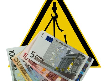 overhead: Danger overhead crane, warning sign. Danger of a falling financial market.
