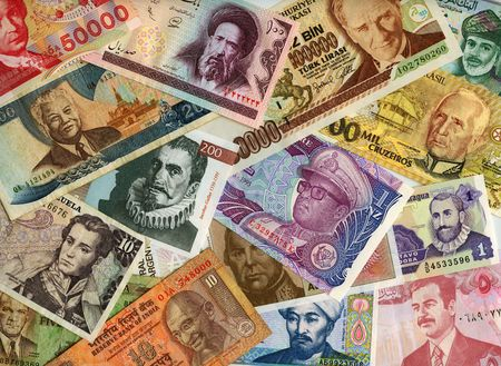 International paper currencies close-up, background. Stock Photo - 4221713