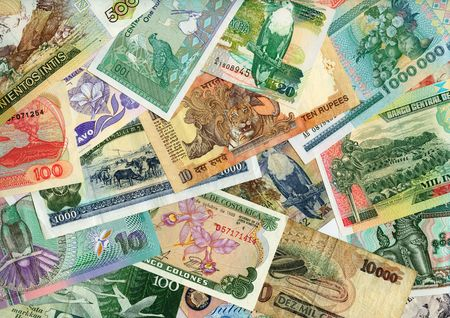 International paper currencies close-up, background. photo