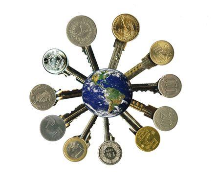 Globe and worldwide financial latchkeys, isolated, on white.   photo